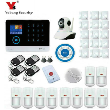 YobangSecurity Wifi Wireless GSM Security Alarm System Video IP Camera Wireless Siren Smoke Fire Detector Sensor IOS Android APP yobangsecurity wifi gsm gprs home security alarm system android ios app control door window pir sensor wireless smoke detector
