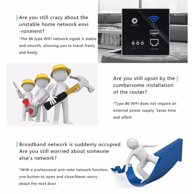 300Mbps Wall Router 110V/220V Power Ap Relay Smart Wireless Wifi Repeater Extender Wall Embedded 2.4Ghz Router Panel Usb Socke