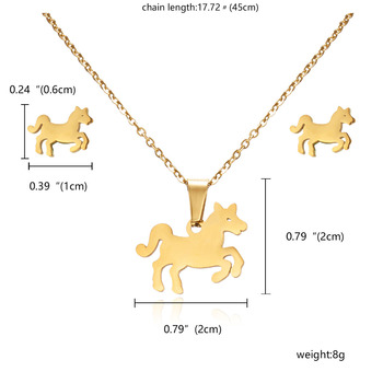 RINHOO Fish Horse Wing Rose Flower Gold Color Stainless Steel Necklace Earrings Jewelry Set 1