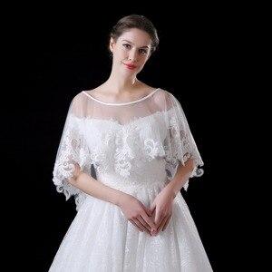 Image 3 - NZUK Высококачественная Тюлевая Короткая Свадебная накидка в горошек с кружевным подолом белые свадебные куртки обертки на заказ