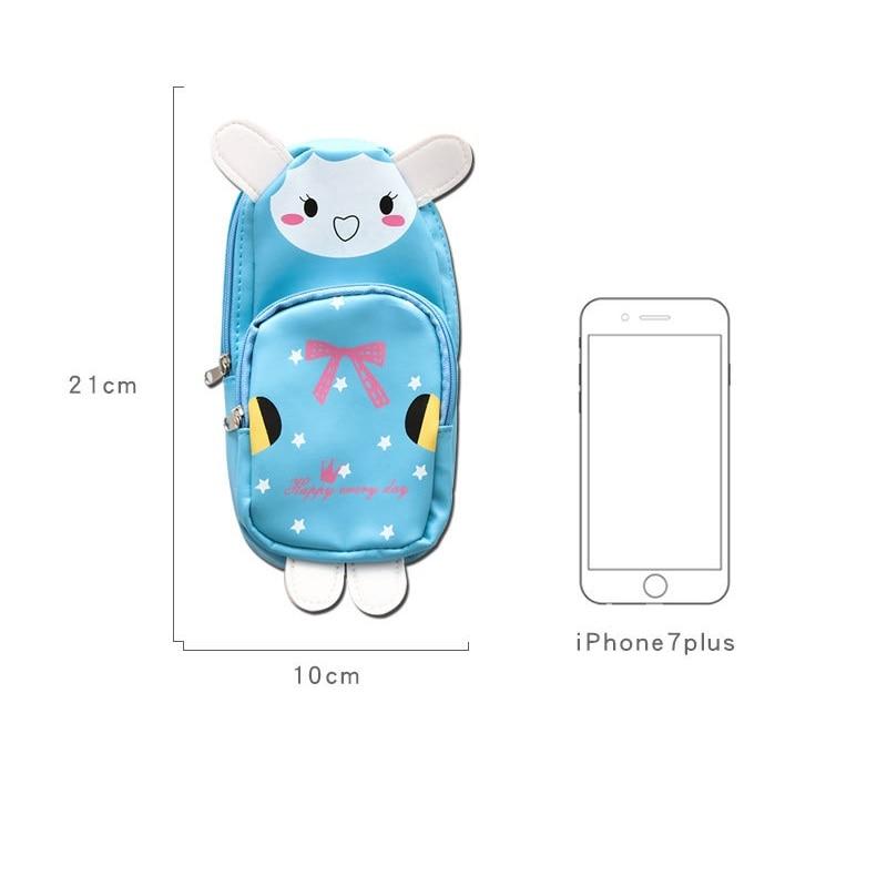 Купить с кэшбэком Cute animal schoolbag pen pencil bag Cartoon Panda Rabbit PU material storage organizer Stationery Office School supplies A6030