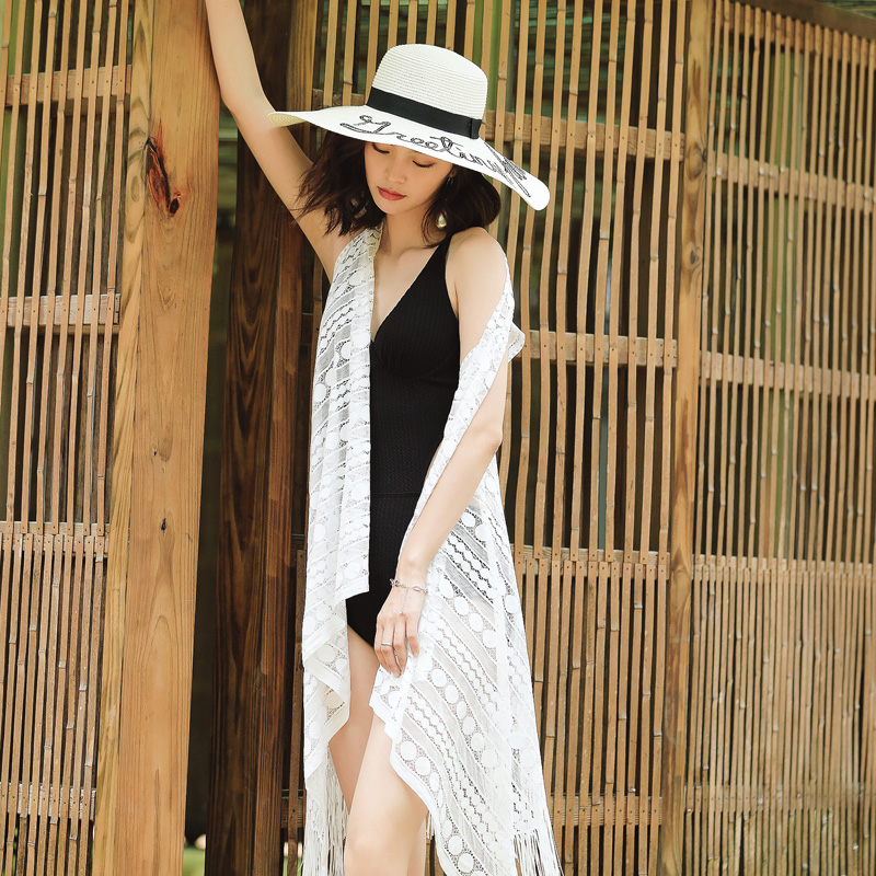 2018 nouveau Blanc transparent dentelle gland couverture-ups Rétro noir D'une seule Pièce maillot de bain Sexy Push Up maillots de bain plage femmes maillots de bain