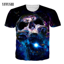 YFFUSHI 2018 Space Series 3D T shirt Fashion Blue River Star Print Skull T-shirt Plus Size 5XL Hip Hop Shortsleeve O-Neck Tees