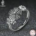 925 Sterling Silver Cintilante Bouquet Branco Esmalte Claro CZ Flor Anéis de Dedo para As Mulheres Compatíveis com Jóias A7176 VRC