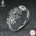 925 Sterling Silver Shimmering Bouquet White Enamel Clear CZ Flower Finger Rings for Women Compatible with VRC Jewelry A7176