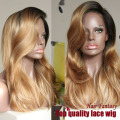 Free Shipping two tone ombre synthetic hair lace front wigs 1b/27# natural wave heat resistant fiber lace Wigs 150% density