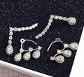 2014 new AAA cubic zircon tear shape rear mounted wedding stud earrings fashion lady jewelery gift Korean style