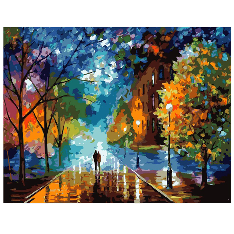 Frameless wall decoration diy painting by numbers night for Pictures to draw on canvas