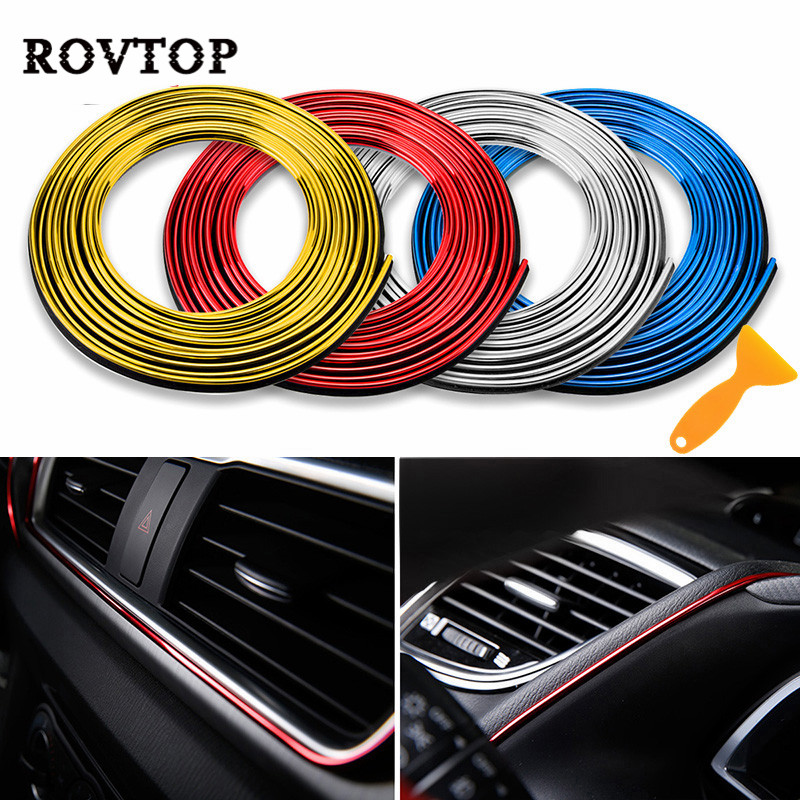 5M Car Styling Interior Parts Stickers Decoration Strip Moulding Car Door Dashboard Air Outlet Steering Strips For Car