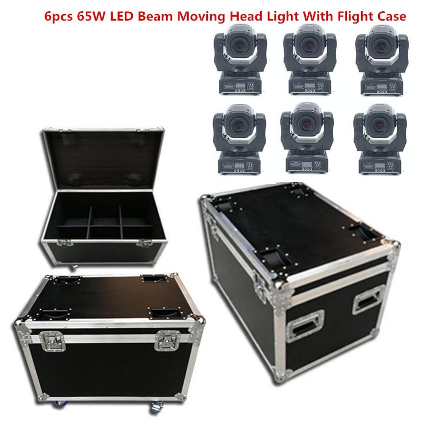 6pcs/Lot 65W LED Beam Moving Head Light With Flight Case LED Spot Moving Head Light 60W LED DJ Spot Light Dmx Dj Lights
