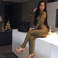 2018 Newest Summer Women Jumpsuit Long Sleeve Sexy Elegant Lady Pencil Pants Mesh Stripe Celebrity Party Pencil Pants Wholesale