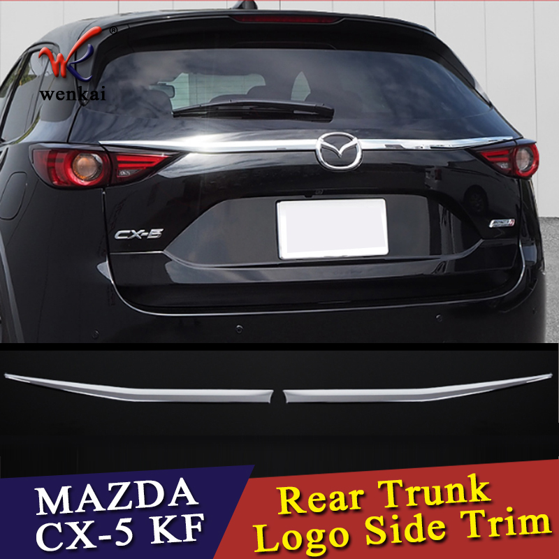 WK Car Rear Trunk Logo Side Trim ABS Chrome 2PCS For Mazda CX-5 2017 2018 Tailgate Lid Molding Cover Glossy Silver Accessories car auto accessories rear trunk molding lid cover trim rear trunk trim for nissan sunny versa 2011 abs chrome 1pc per set