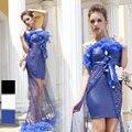Лан квай фонг синий камера верхний приталенный сексуальный короткая юбка пайетки хип приталенный официальный платье сцена одежда костюм 2062