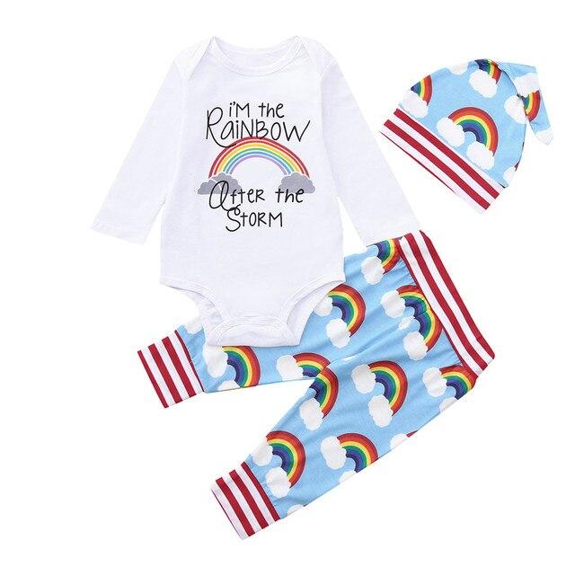 7e862b22b6ab Rainbow baby clothes set Newborn Baby Girls Boys letter Romper ...