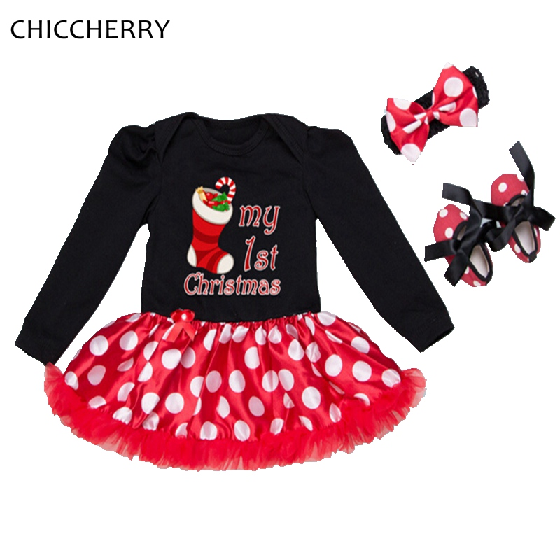 My First Christmas Baby Girl Clothes Ropa De Bebe Lace Romper Dress Headband Crib Shoe Conjunto Infantil Newborn Infant Clothing