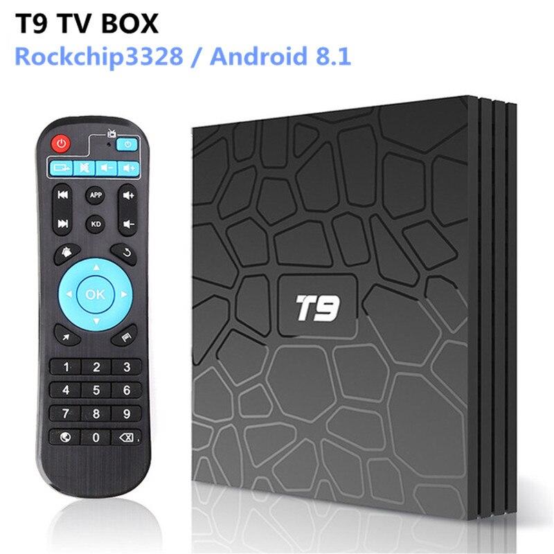 Boîtier TV T9 Android 8.1 RK3328 Quad Core 4G/32G USB 3.0 décodeur 4 K intelligent en option 2.4G/5G double WIFI Bluetooth