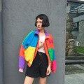 Más el Tamaño BF Harajuku 2016 Mujeres del Otoño Básica de Colores Chaquetas Tops Cazadora Abrigo de Manga Larga Ocasional prendas de Vestir Exteriores Femenina A568