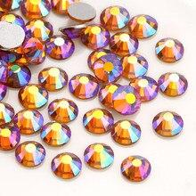 Glitter Gold Yellow AB Flatback Non Hot-fix Rhinestone Garment Glass Stones b2ab4702dc24