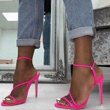 2aa268b0b24 Europea Sexy fucsia talones bandada delgada tacones Peep Toe de neón  amarillo de verano Zapatos de señora zapatos de fiesta clás.