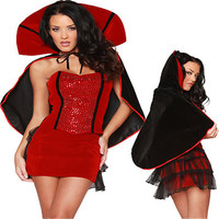 Trois Pièces Sexy Vampire Halloween Costume Pour Femmes Sequin Fantaisie Robe Deguisement Adulte Parti Diable Costume Cosplay XL