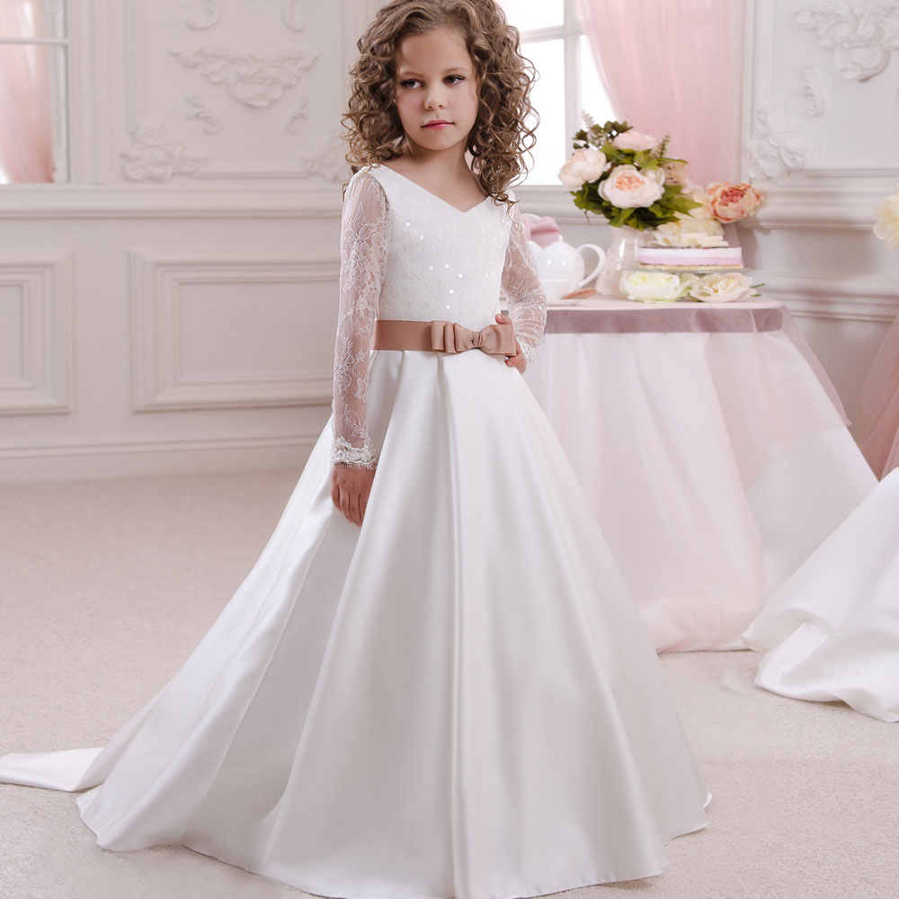 Elegant Muslim Formal Occasion First Communion Gown Long Sleeves White Lace Appliques Satin Long Train Flower Girl Dress 2-12 pink lace up design cold shoulder long sleeves hoodie dress