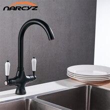 Черная краска Двойная Ручка Смеситель для кухни двухслойные Кухня Смеситель для мойки горячей и холодной кухонный кран XT-10