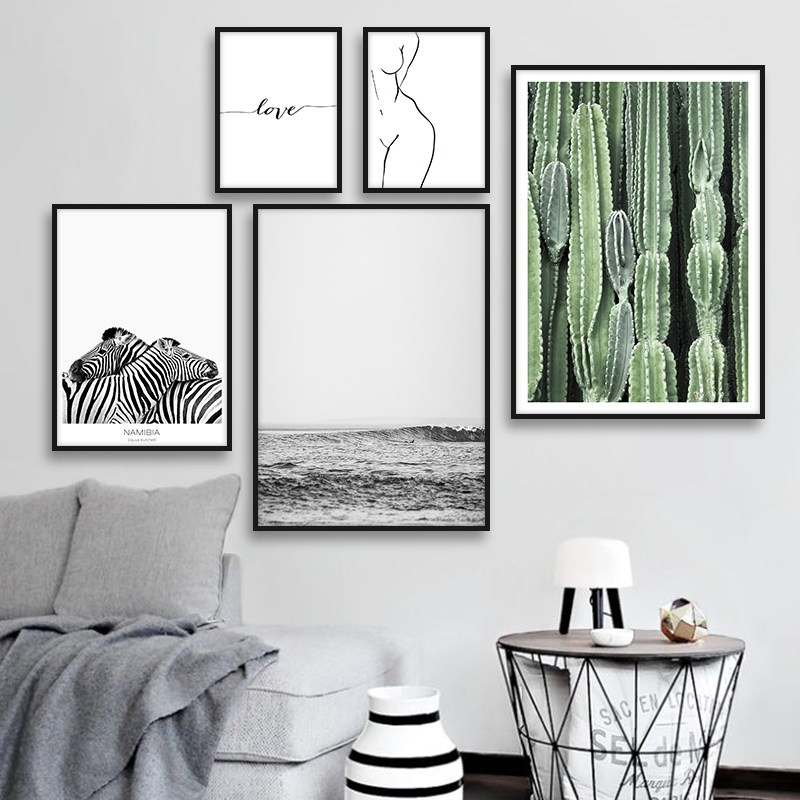 Cactus Zebra Animal Posters and Prints Women Body Lines Canvas Art Painting Wall Art Love Decorative Picture For Living Room in Painting Calligraphy from Home Garden