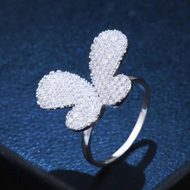 OCESRIO корейское серебряное кольцо с бабочкой для девочек кубический цирконий большой цветок женские кольца ювелирные изделия cz Дубай золото ювелирные изделия rig-f96