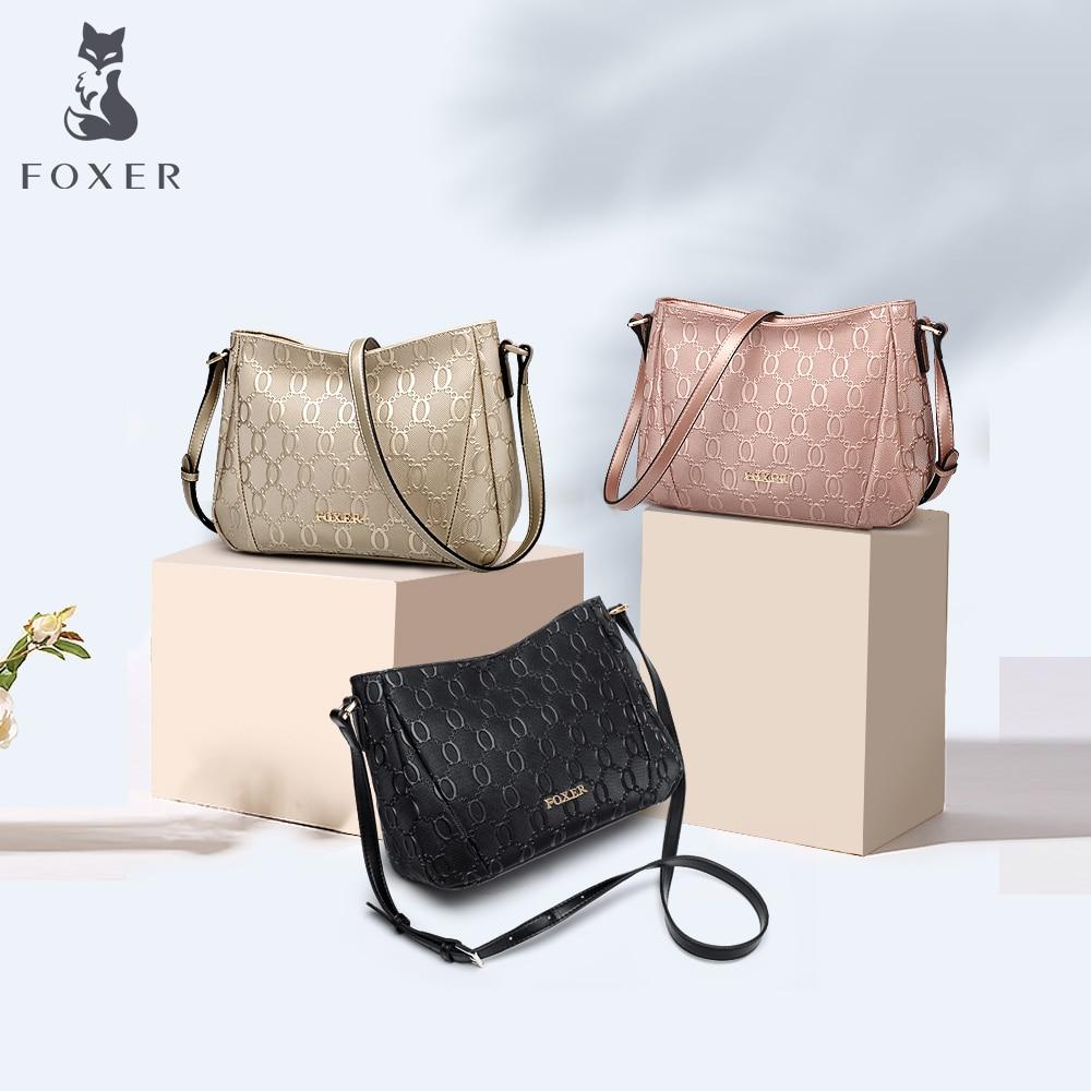 FOXER Merk Tas vrouwen Schoudertassen Vrouwelijke Hight Kwaliteit Crossbody Tas Mode Lederen Messenger Bags Voor Vrouw-in Schoudertassen van Bagage & Tassen op  Groep 1