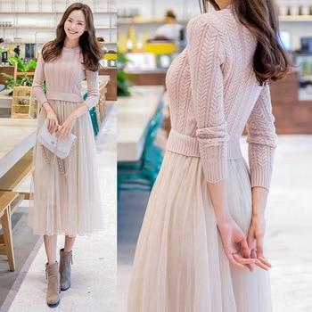 59bcc4c1b3cf42e 2018 элегантный вязаный Платья-свитеры осень-зима платье Свитер с длинными  рукавами сетка, пэчворк, для женщин, платье для офиса, Повседневное..
