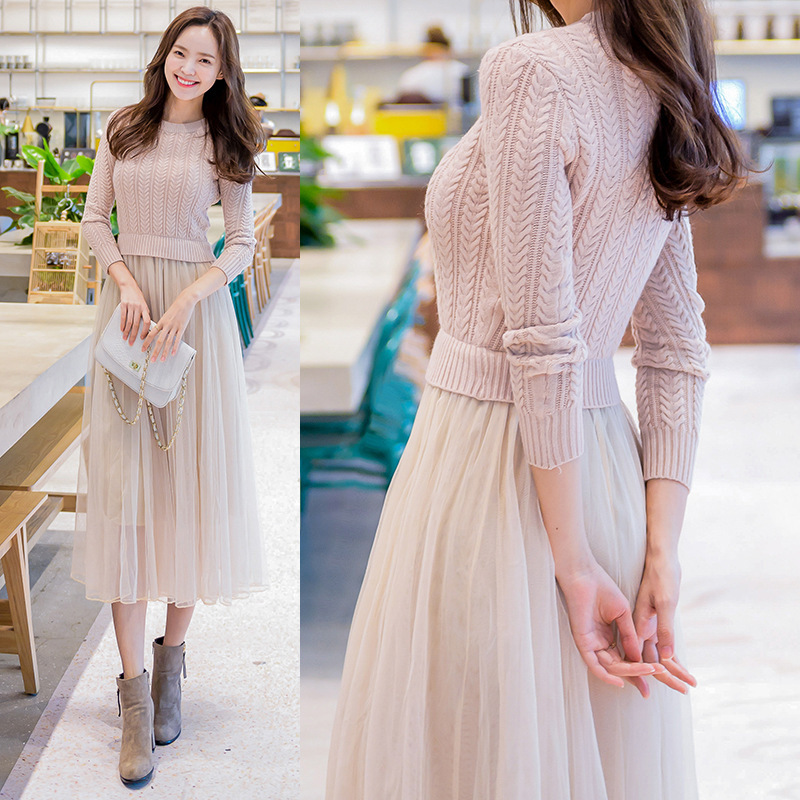 Elegant Knitted Sweater Dress Autumn Winter Dress Long Sleeve Sweater Mesh Patchwork Women Dress Office Casual Long Dress
