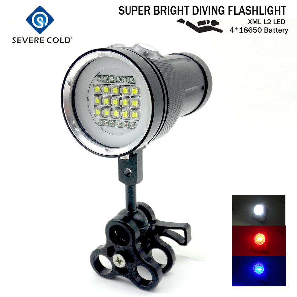 Professional Diving Light Underwater 100m Scuba Video Light 15 XML2 6 Red 6 UV LED Photography
