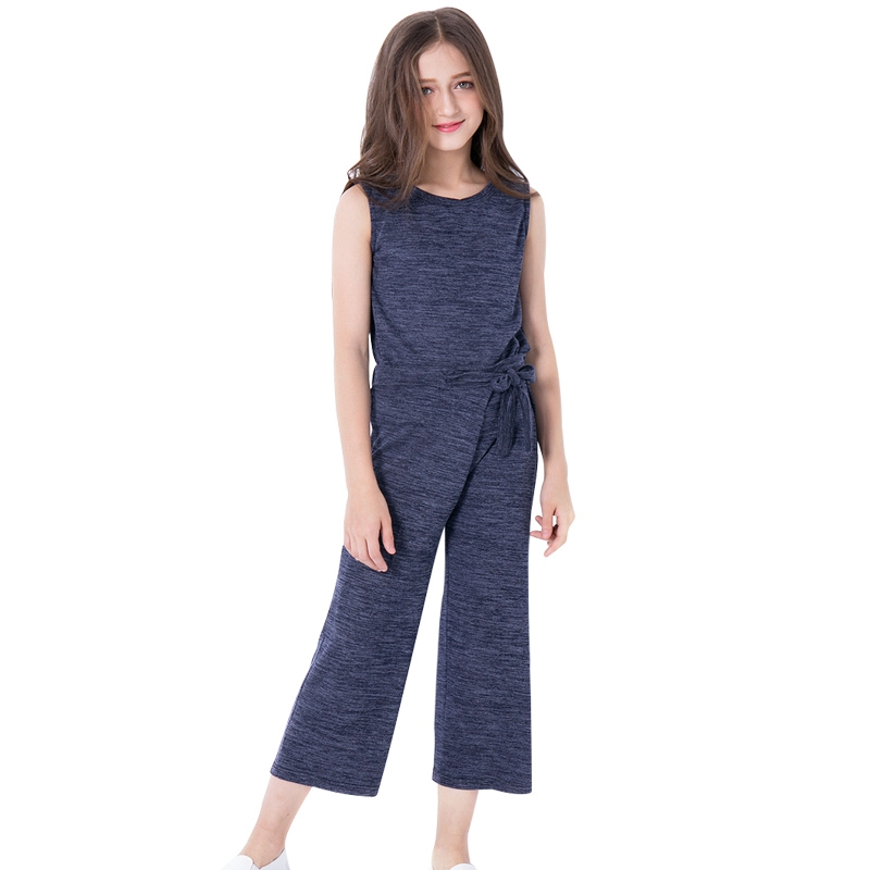 Teen Girls Set Clothes Kids Fashion Top and Pants Two Piece Suit Summer 2018 New Sleeveless T Shirt Ankle Length Wide Leg Pants cropped wide sleeve top
