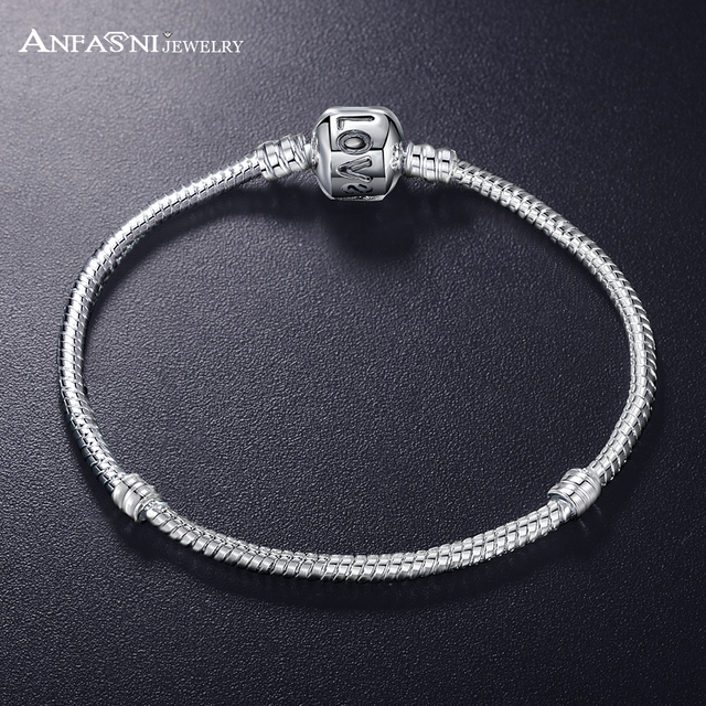 ANFASNI New Fashion Love Snake Chain Silver Color Fit Original Charm Bracelet Bangle Charm Bead For Women Gift 17CM-21CM 3