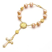 Cross Catholic Rose Gold Rosary Bracelet Curved Jesus