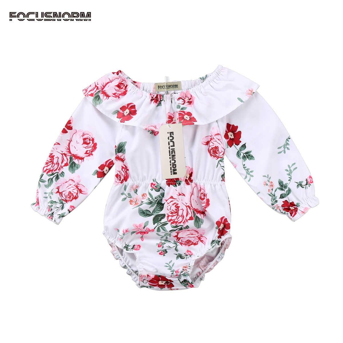 9d12470103c Adorable Floral Newborn Baby Girls Long Sleeve Peter Pan Collar Romper  Summer Kid Elastic Waist Outfits