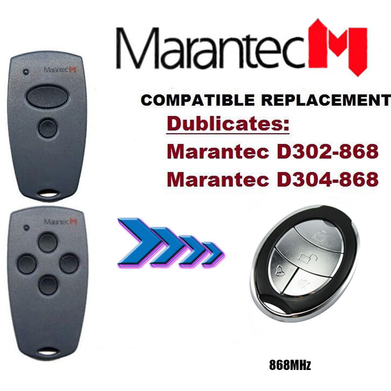 Adaptable 2pieces Marantec D302,d304 868mhz Garage Door/gate Remote Control Replacement/duplicator Nice Sophisticated Technologies