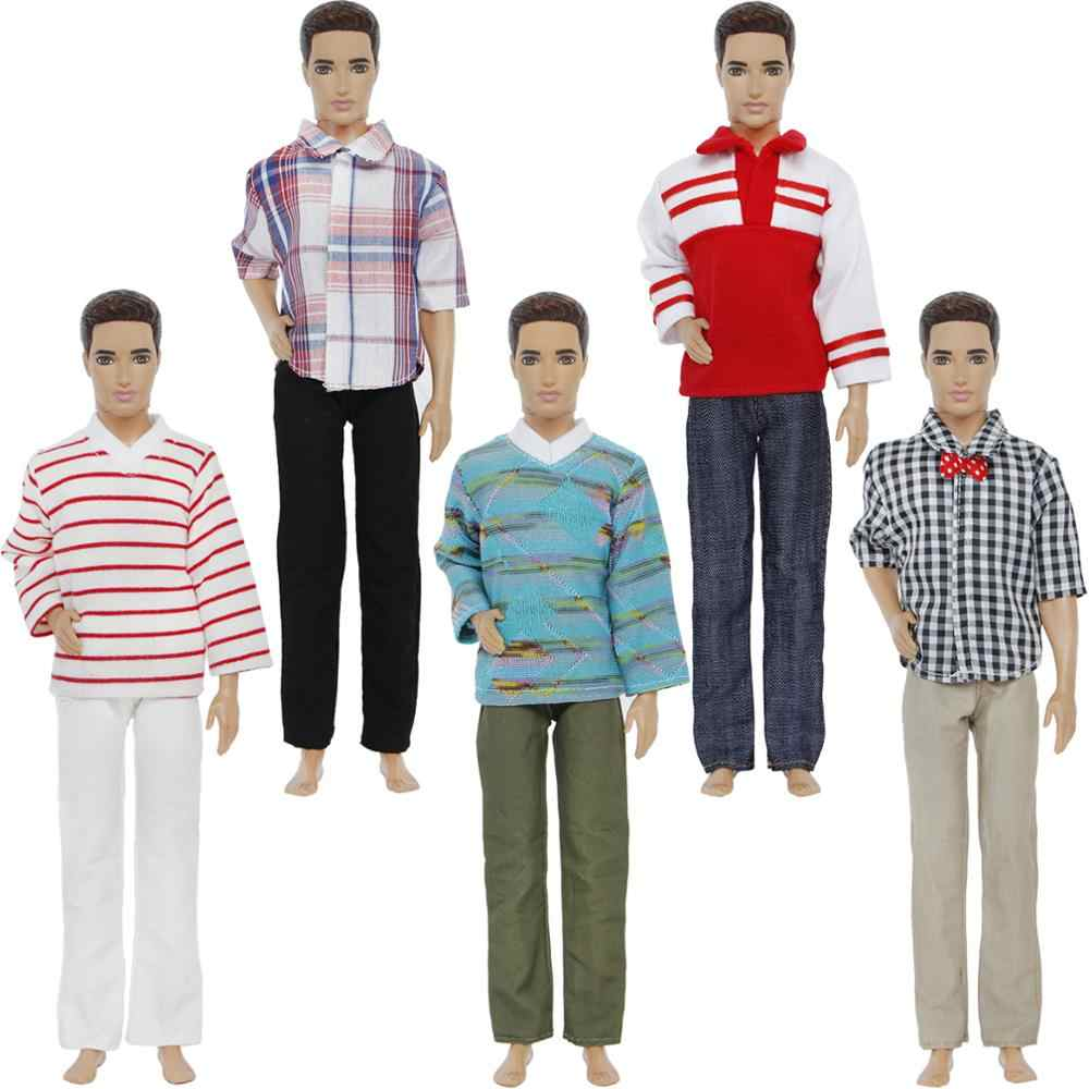 5 комплектов ручной работы мужские модные наряды футболка джинсовые блузки брюки Нижняя повседневная одежда для Барби друг Кен Кукла аксессуары