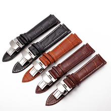High Quality Genuine Leather Various Sizes Butterfly Deployment Clasps Watch Band Mens Womens Strap Watchband 12mm to 24mm