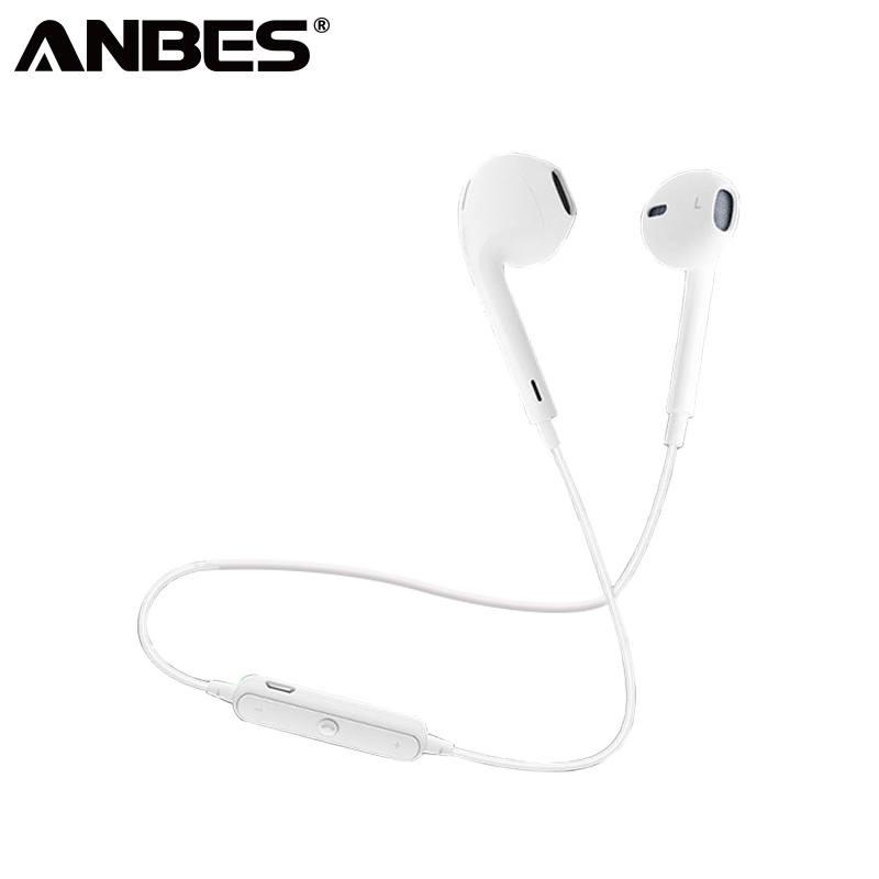 ANBES S6 Bluetooth Wireless Earphone Sports Headset Earbuds Headphone In-Ear  Earpieces With Microphone For Android iPhone nameblue st 33 sports bluetooth v4 0 in ear earphone headphone set w microphone volume control