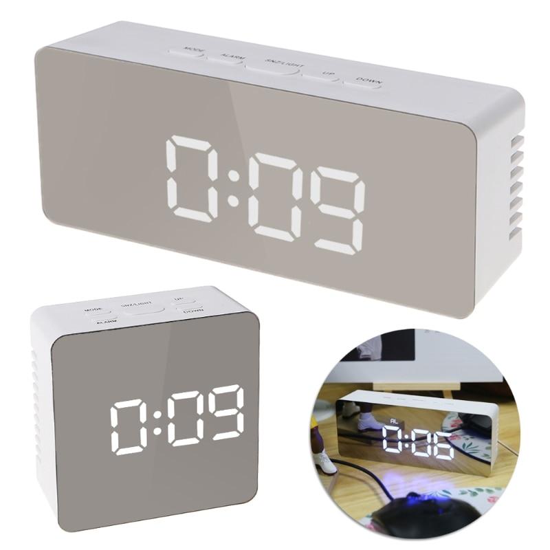 Digital LED Mirror Desktop Clock 12H/24H Alarm Desktop