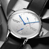 GUANQIN hommes montres Top marque de luxe automatique Date hommes décontracté mode horloge étanche en cuir véritable mécanique montre-bracelet