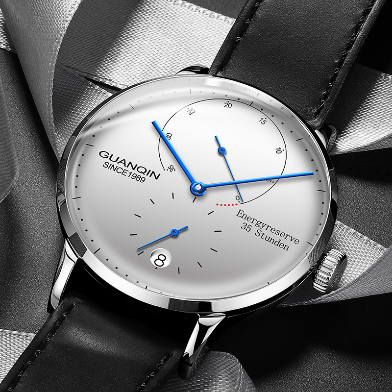 Guanqin relógios masculinos marca superior luxo data automática relógio de moda casual à prova dwaterproof água couro genuíno relógio de pulso mecânico