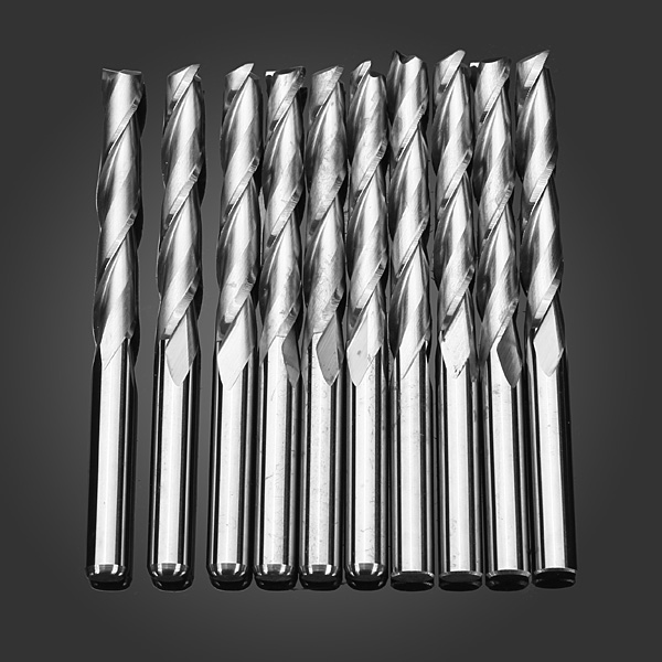 10pcs/box Carbide Alloy 3.175x22mm 2 Flutes Two Blades Milling Cutters Cnc Cutting Tool Parts Spiral Bit Router End Mill To Adopt Advanced Technology