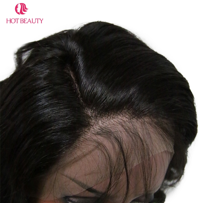 Hot Beauty Hair 360 Lace Frontal Paryk Pre Plucked With Baby Hair - Menneskehår (sort) - Foto 6