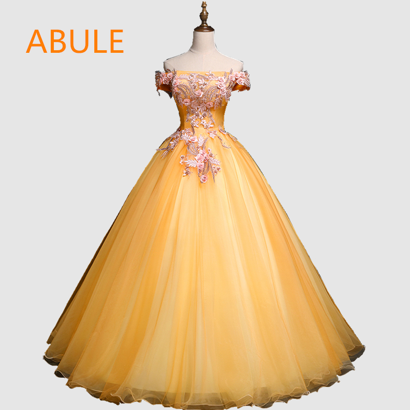 ABULE Quinceanera Dresses srtapless lace up yellow ball gown prom dress Debutante Gown 15 Years Layer Tulle Beads Custom sizes