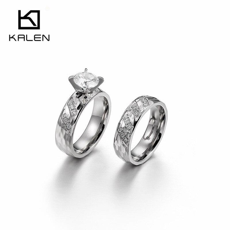 Aliexpress.com : Buy Kalen New Silver Finger Engagement Rings For Couples Women Stainless Steel