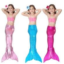 3pcs Cute Children Kids Girls Cosplay Mermaid Tail PrincessBikini Swimsuit Halloween Costume Dress Set