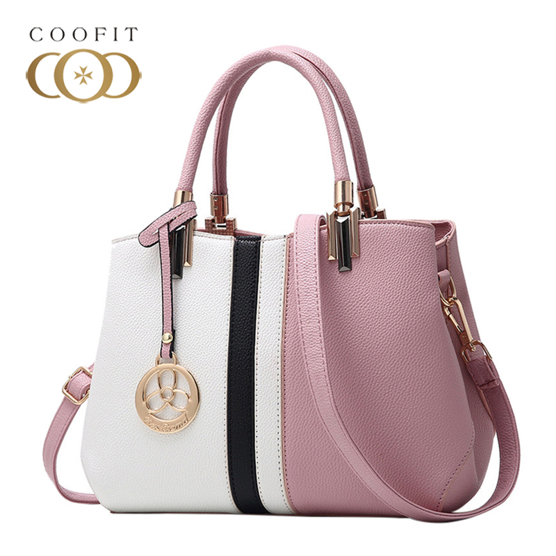 coofit Vintage Ladies' Handbags Young Fahion PU Leather Shoulder Bags Large Capacity Patchwork Color Top Women Handle Bag New famous brand women handbags pu leather bag women tote high quality ladies shoulder bags large capacity ladies top handle bags