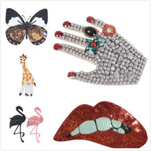 New Embroidery Rhinestone Hand Beaded Patches Lace Applique Paillette rainbow wings Fabric Clothes Stickers T-Shirt Accessories(China)